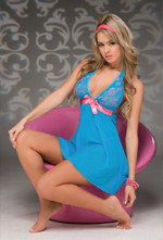 Blue and pink babydoll.