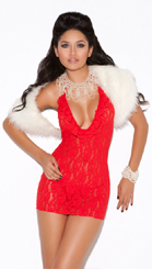 Red Lace Halter Mini Dress
